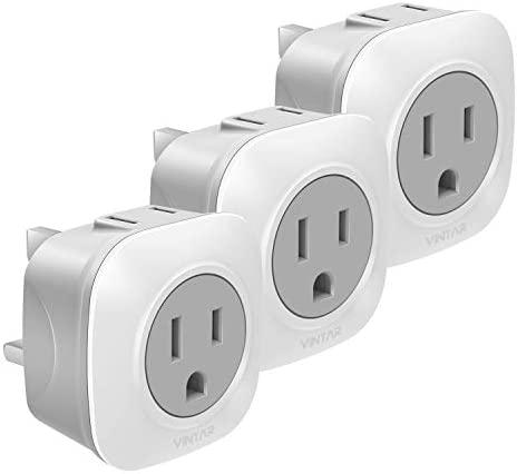 [3-Pack] UK Ireland Travel Plug Adapter, VINTAR International Power Adaptor with 2 American Outlets- 2 in 1 European Plug Adapter for USA to British England Scotland Irish London Hong Kong (Type G)