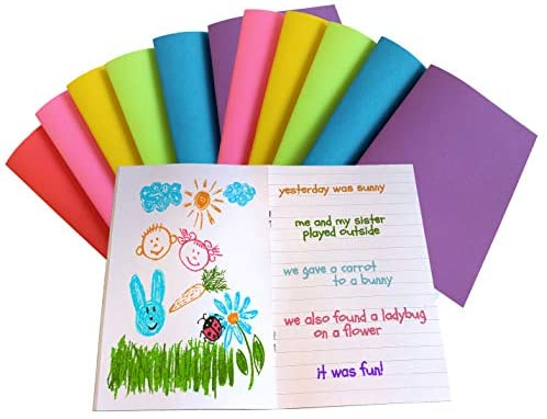 "Debra Dale Designs Made Right in The USA - Notebooks for Kids - Blank & Lined Page Journals - 5-1/2"" x 8-1/2"" - 12 Pack - Six Bright Colors for Bright Ideas - Sturdy Covers - 20 Page Journal Notebook"
