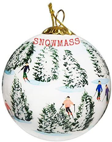 Art Studio Company Hand Painted Glass Christmas Ornament - Skiing The Glades Snowmass Village, Colorado