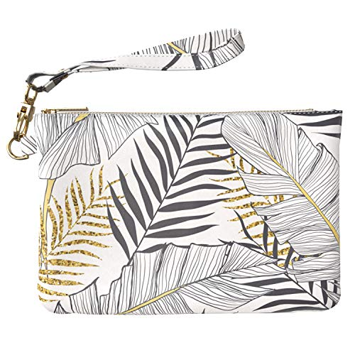 Lex Altern Makeup Bag 9.5 x 6 inch Golden Palm Leaves Tropical Luxury Leaf Print Purse Pouch Cosmetic Travel PU Leather Case Toiletry Women Zipper Organizer Bathroom Storage Wristband Girl Design