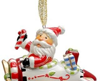 Cosmos Gifts 10648 Santa with Airplane Ornament, 2-1/4-Inch