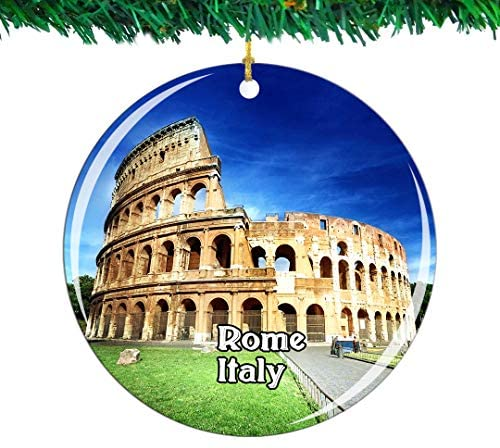 Weekino Italy Colosseum Rome Christmas Ornament City Travel Souvenir Collection Double Sided Porcelain 2.85 Inch Hanging Tree Decoration
