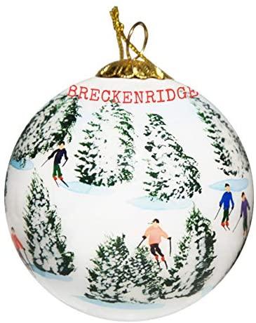 Art Studio Company Hand Painted Glass Christmas Ornament - Skiing The Glades - Breckenridge, Colorado