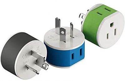 Australia, New Zealand, China Power Plug Adapter by OREI with 2 USA Inputs – Travel 3 Pack – Type I (US-16) Safe Grounded Use with Cell Phones, Laptop, Camera Chargers, CPAP, and More