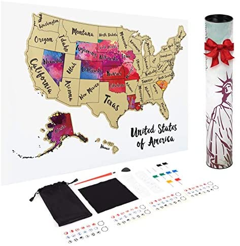 JARLINK Scratch Off USA Map Poster, 12x17 inches United States Map with Unique Accessories Set, Personalized Travel Poster, Gift for Travelers