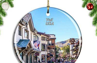 Weekino USA America Vail Colorado Village Christmas Xmas Tree Ornament Decoration Hanging Pendant Decor City Travel Souvenir Collection Double Sided Porcelain 2.85 Inch
