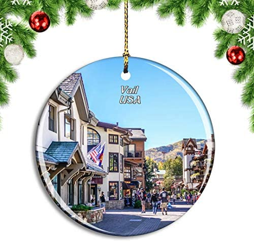 Weekino USA America Vail Colorado Village Christmas Xmas Tree Ornament Decoration Hanging Pendant Decor City Travel Souvenir Collection Double Sided Porcelain 2.85 Inch