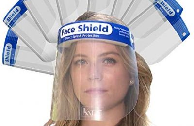 Katzco Reusable Face Shields – 8 Pack – Clear Full Face Visor Mask with Removable Protective Film – Face and Head Coverage – Ideal for Automotive, Construction, General Manufacturing, Mining Uses
