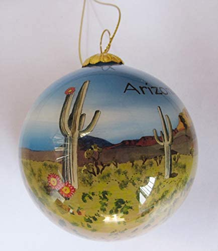 Hand Painted Glass Christmas Ornament - Desert View of Saguaro Cactus Arizona