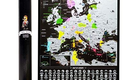 Europe Scratch Off Map Travel map Push pin Map EU Detailed map of Europe travel Wall map with Landmarks Bucketlist scratch off Europe travel map 16×24 Vibrant Black Mymap
