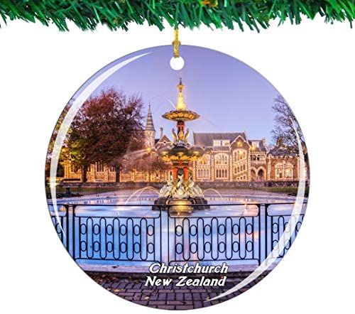 Weekino New Zealand Christchurch Botanic Gardens Christmas Ornament City Travel Souvenir Collection Double Sided Porcelain 2.85 Inch Hanging Tree Decoration