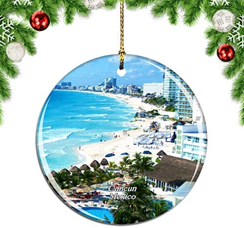 Weekino Mexico Cancun Christmas Xmas Tree Ornament Decoration Hanging Pendant Decor City Travel Souvenir Collection Double Sided Porcelain 2.85 Inch