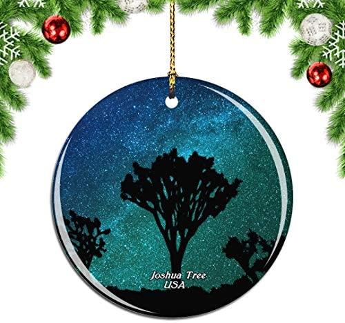 Weekino America USA Joshua Tree California Christmas Xmas Tree Ornament Decoration Hanging Pendant Decor City Travel Souvenir Collection Double Sided Porcelain 2.85 Inch