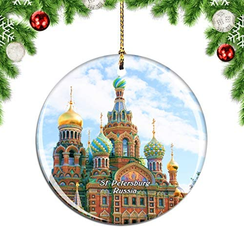 Weekino Russia Savior on The Spilled Blood St. Petersburg Christmas Xmas Tree Ornament Decoration Hanging Pendant Decor City Travel Souvenir Collection Double Sided Porcelain 2.85 Inch