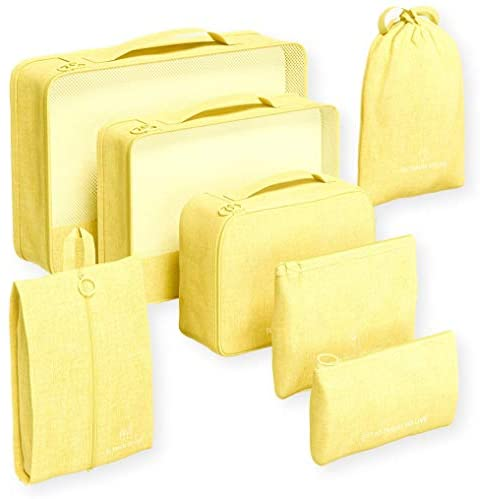 Packing Cubes Set for Suitcases Luggage Organizer Weekender Travel Essentials Classic & Elegant Design Gift Choice (Super Yellow)