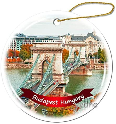 yyone Ceramic Ornament Budapest Hungary The Round Christmas Ornaments Ceramic Sheet Souvenir Travel Gift Collection