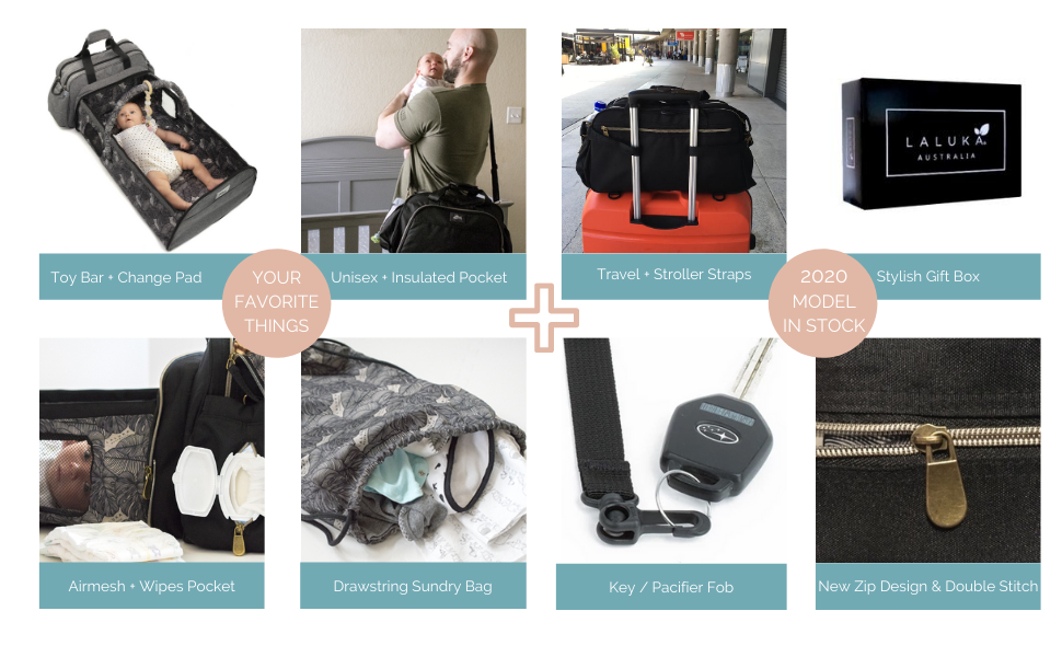 Diaper Bag with Travel Bassinet 2020 Model Updated Features
