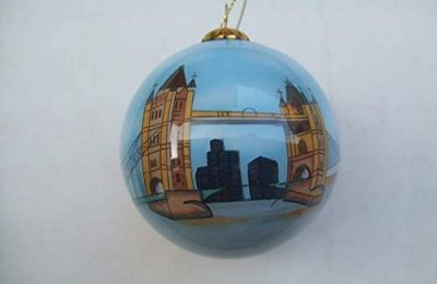 Hand Painted Glass Christmas Ornament – London