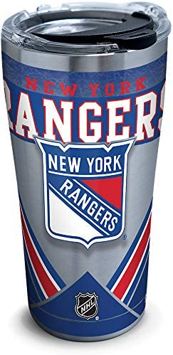 Tervis NHL New York Rangers Ice Stainless Steel Insulated Tumbler with Clear and Black Hammer Lid, 20oz, Silver