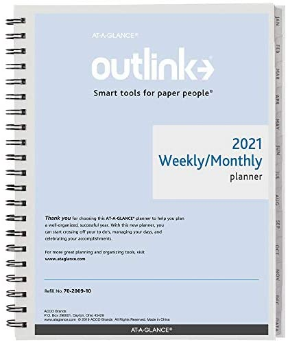 "2021 Weekly & Monthly Planner Refill by AT-A-GLANCE, 8-1/2"" x 11"", Large, Wirebound, Outlink (7020091021)"