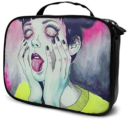 Lazy Toiletry Bag Clutch Bag, Goth Gotik Gothic Women Girl Art Cosmetic Train Case Organizer Large Capacity Carry On Bag, Luggage Pouch, Makeup Pouch] for Women Girls Ladies