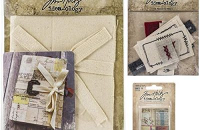 Tim Holtz Idea-Ology 2020 Fabric Journal, Fabric Tape and Stitched Scraps – 3 Item Bundle
