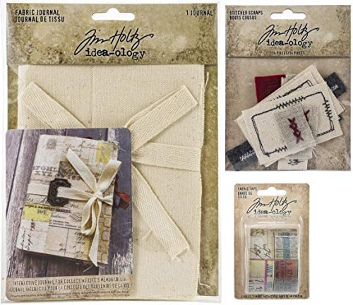 Tim Holtz Idea-Ology 2020 Fabric Journal, Fabric Tape and Stitched Scraps - 3 Item Bundle