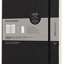Moleskine 12 Month 2021 Smart Weekly Planner, Hard Cover, XL (7.5″ x 9.5″) Black – Compatible with Moleskine Pen+ (Sold Separately) & App