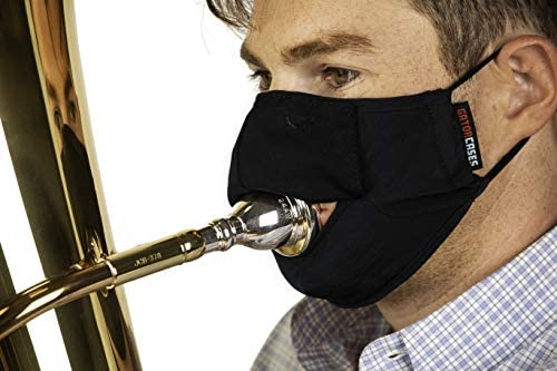 Gator Cases Double-Layer Face Mask with Magnetized Cotton Flap, Ideal for Wind Instrument Performance, Drinks, Events and Travel; Medium (GBOM-MEDIUMBK)