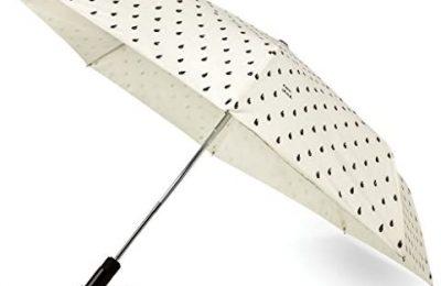 Kate Spade New York Women's Raindrop Travel Umbrella, Black/White, One Size