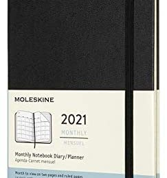Moleskine 12 Month 2021 Monthly Planner, Hard Cover, Large (5″ x 8.25″) Black, DHB12MN3Y21