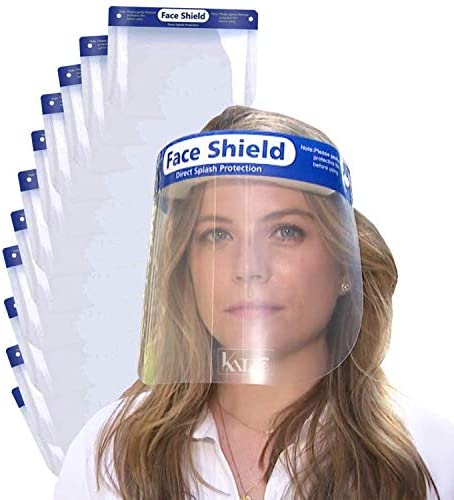Katzco Reusable Face Shields -11 Pack - Clear Full Face Visor Mask with Removable Protective Film - Face and Head Coverage - Ideal for Automotive, Construction, General Manufacturing, Mining Uses