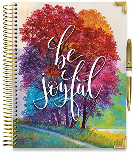 Tools4Wisdom Hardcover Daily Planner 2021-2022 - April 2021 to June 2022 Academic Calendar - 8.5 x 11 Hardcover w/Pen - Full Color Weekly Planner Pages - Q2Pro - Be Joyful Cover