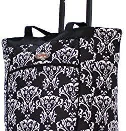 Olympia Fashion Rolling Shopper Tote – Damask Black, 2300 cu. in.