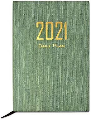 "Ernsix Daily Planner 2021-Luxurious Daily, Weekly & Monthly Planner,-Jan 2021 to Dec 2021-Hard Cover-Premium Thick Paper 177 Sheets - Large Size (5.7"" x 8.2"") -Simplified Style-Myrtle Green"
