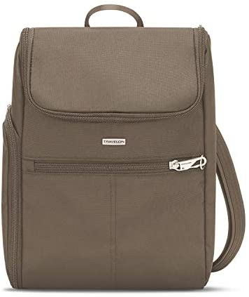 Travelon Anti-Theft-Classic Small Convertible Backpack, Nutmeg, One Size