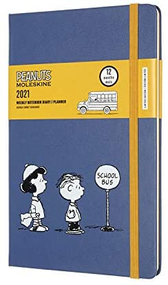 """""""Moleskine Limited Edition Peanuts 12 Month 2021 Weekly Planner, Hard Cover, Large (5"""""""" x 8.25"""""""") School Bus"""" (DPE12WN3Y21)"""