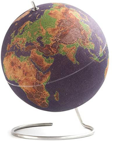 Suck UK LARGE DESKTOP CORK PUSH PINS INCLUDED | EDUCATIONAL WORLD MAP | TRAVEL ACCESSORIES | ADVENTURE & MEMORIES DISPLAY | Globe, Multicolour