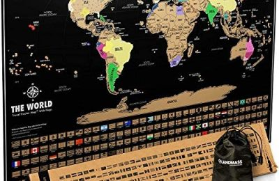 Landmass Scratch Off Map Of The World – Black Scratch Off World Map Poster with Flags – World Map Scratch Off – Vibrant Colors – The Gift Travelers Want – 17 x 24 Inches Travel Tracker Map
