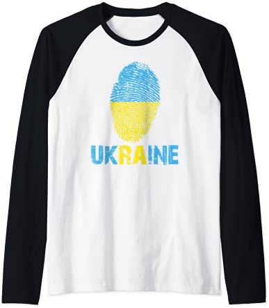 UKRAINE Finger Print Flag Tshirt I Love UKRAINE Travel Tee Raglan Baseball Tee