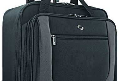 Solo New York Bryant Rolling Bag with Wheels, Fits Up to 17.3-Inch Laptop, Black/Grey, 14″ x 16.8″ x 5″