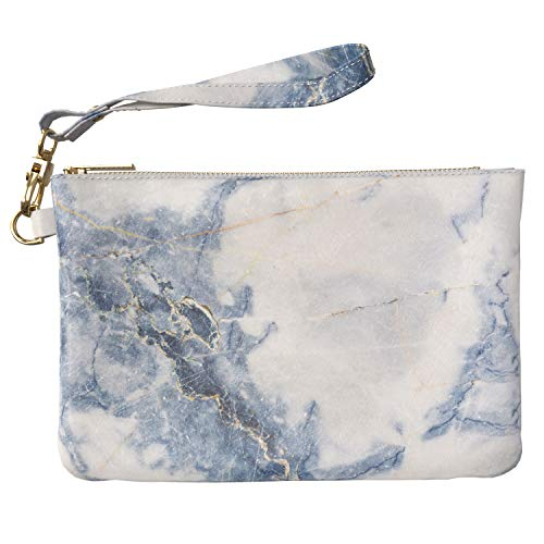 Lex Altern Makeup Bag 9.5 x 6 inch Marble White Nature Grey Blue Paint Aesthetic Case Toiletry Women Zipper Organizer Storage Wristband Girl Accessories Design Purse Pouch Cosmetic Travel Leather