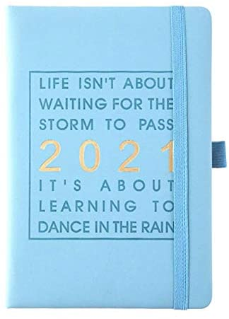 """2021 Planner- Daily, Weekly & Monthly Planner with Faux Leather, Month Planner with Pen Hold, Time Management Organizer Notebook,Travel Journal Notebooks, 5.71"""" x 8.27"""", Jan 2021 - Dec 2021, A5, Thick Paper, Perfect Notebooks for Work, Travel, College - Blue"""