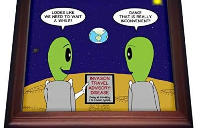 3dRose Alien Travel Advisory – Disease Warning – like COVID-19 perhaps – Trivets (trv_339456_1)