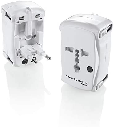 Travel Smart by Conair All-In-One Adapter Plug with Surge Protection; US Europe UK Italy Spain China