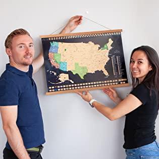 Travelization Scratch Off Maps and Poster Hanger Frames