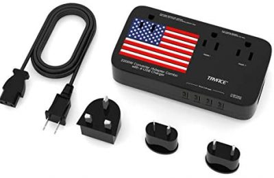 Tryace Step Down 220v to 110v Voltage Converter International Power Travel Adapter with 4-Port USB in UK/US/AU/EU More Than 150 Countries Over The World (Black)