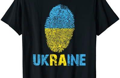 UKRAINE Finger Print Flag Tshirt I Love UKRAINE Travel Tee T-Shirt