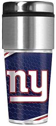 Great American Products New York Giants 16 oz Travel Tumbler with Metallic Honeycomb Design Wrap