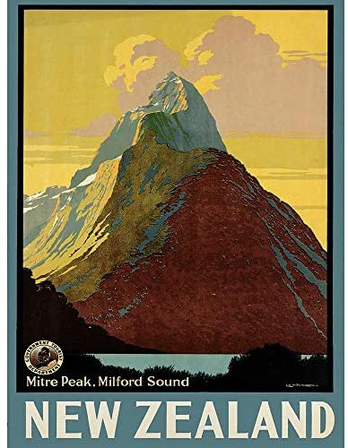 Wee Blue Coo Travel Mitre Peak Milford Sound Zealand Lake Cloud Unframed Wall Art Print Poster Home Decor Premium
